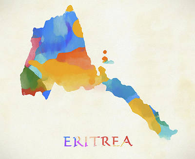 Mixed Media - Eritrea Watercolor Map by Dan Sproul