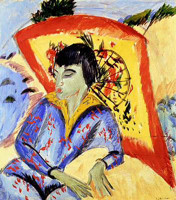 Erna With Japan Screen Art Print by Ernst Ludwig Kirchner