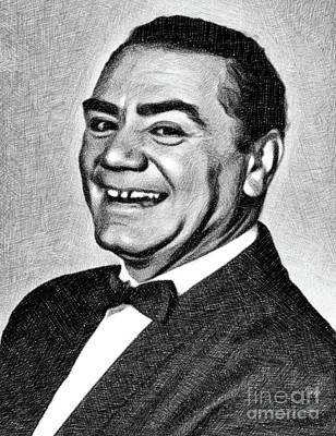 Musicians Drawings Rights Managed Images - Ernest Borgnine, Vintage Actor by JS Royalty-Free Image by John Springfield