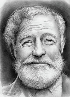 Novelist Drawing - Ernest Hemingway by Greg Joens