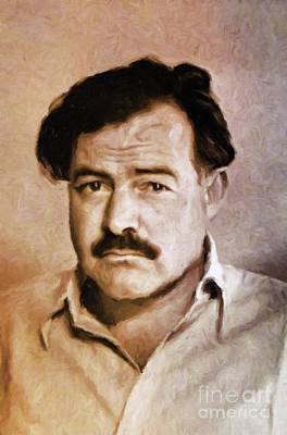 Ernest Hemingway, Literary Legend By Mary Bassett Art Print by Mary Bassett