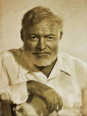 Ernest Hemingway Painting - Ernest Hemingway, Literary Legend by Mary Bassett