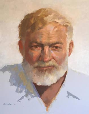 Ernest Hemingway Art Print by Mike Hanlon
