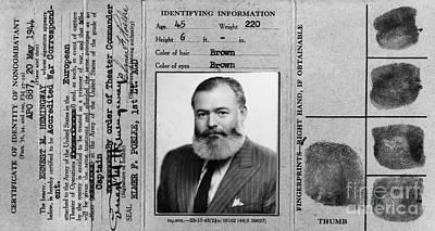 Ernest Hemingway Photograph - Ernest Hemingway Military Identification  by Jon Neidert