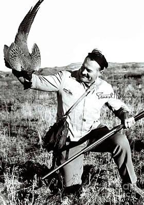 Pheasant Mixed Media - Ernest Hemingway, Pheasant Hunting, Sun Valley, Idaho, Signed by Thomas Pollart