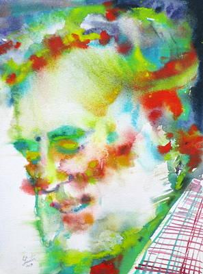 Painting - Ernest Hemingway - Watercolor Portrait.10 by Fabrizio Cassetta