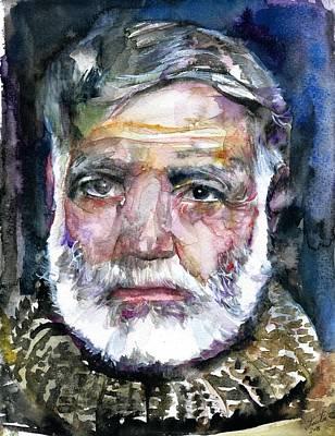 Painting - Ernest Hemingway - Watercolor Portrait.12 by Fabrizio Cassetta