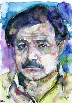 Painting - Ernest Hemingway - Watercolor Portrait.13 by Fabrizio Cassetta