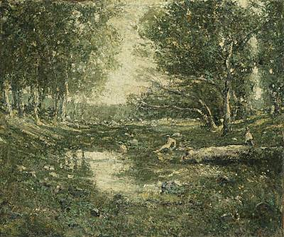 Bathers Painting - Ernest Lawson - Bathers, Woodland by Celestial Images