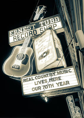 Photograph - Ernest Tubb Record Shop Neon - Nashville Tennessee Vintage Sepia by Gregory Ballos