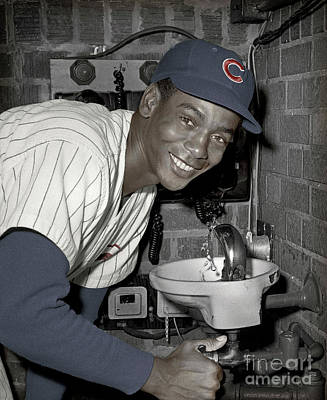 Photograph - Ernie Banks At Cubs Water Fountain by Martin Konopacki Restoration