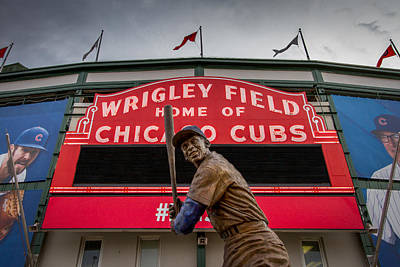 Ernie Banks Statue At Wrigley Field Art Print by Mike Burgquist