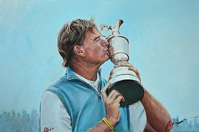 Ernie Els Wall Art - Painting - Ernie Els Wins The Open At Muirfield by Mark Robinson