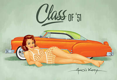 Kustom Painting - Ernst Chevy Pin Up by Aaron Kirby