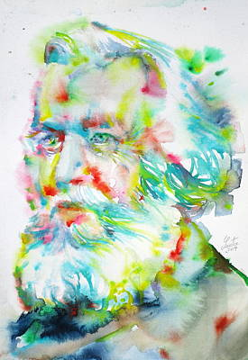 Painting - Ernst Haeckel - Watercolor Portrait by Fabrizio Cassetta