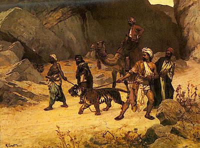 The Tiger Hunt Digital Art - Ernst Rudolf The Tiger Hunt by Rudolf Ernst