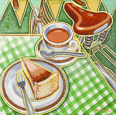 Country Fair Painting - Eroica Britannia Bakewell Pudding And Cup Of Tea On Green by Mark Jones