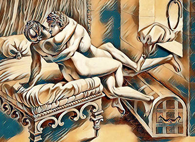 Sex Position Painting - Erotic Abstract Four by Pd