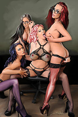 Painting - Erotic Office Play By Spano by Michael Spano