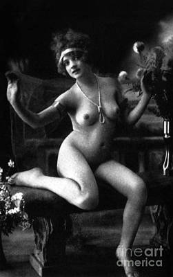 Photograph - Erotic Photo Of A Naked Woman Vintage Photography by French School
