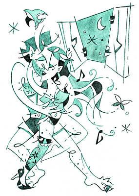 Drawing - Erotic Tango - Couple Dancing Illustration by Arte Venezia