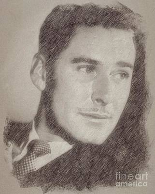 Star Trek Drawing - Errol Flynn Vintage Hollywood Actor by Frank Falcon