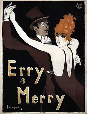 Mixed Media - Erry And Merry - Couple Dancing - Dance Team - Vintage Advertising Poster by Studio Grafiikka