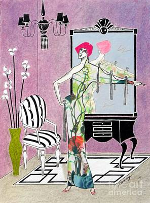 Erte Painting - Erte'-esque -- Art Deco Interior W/ Fashion Figure by Jayne Somogy