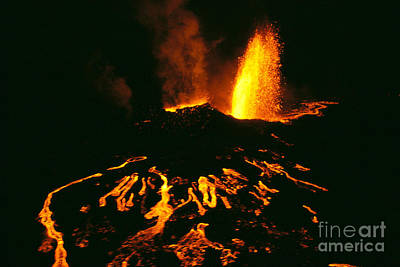 Photograph - Eruption At Night by Allan Seiden - Printscapes