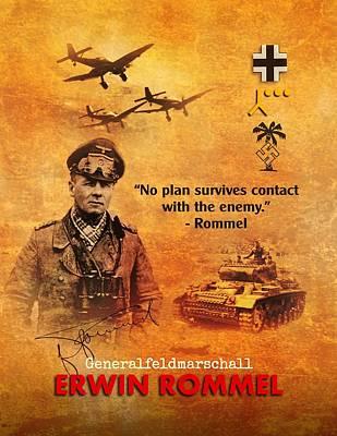 Art Print featuring the digital art Erwin Rommel Tribute by John Wills