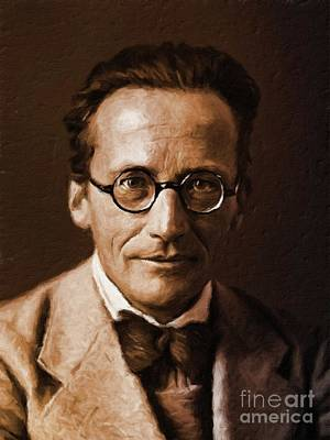 Physicist Painting - Erwin Schrodinger, Physicist By Mary Bassett by Mary Bassett