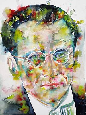 Art Print featuring the painting Erwin Schrodinger - Watercolor Portrait by Fabrizio Cassetta