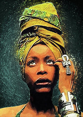 Musicians Digital Art Rights Managed Images - Erykah Badu Royalty-Free Image by Zapista OU