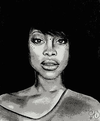 Drawing - Erykah Baduism - Pencil Drawing From Photograph - Charcoal Pencil Drawing By Ai P. Nilson by Ai P Nilson