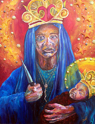 Vodou Painting - Erzulie Dantor Portrait by Christy  Freeman