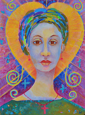 Erzulie Freda Painting. Ezili Freda Portrait Made In Poland By Polish Artist Magdalena Walulik Art Print by Magdalena Walulik