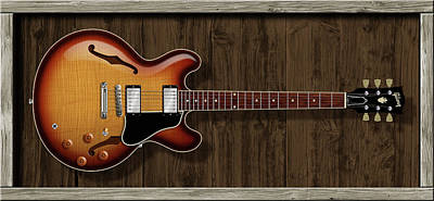 Eric Clapton Digital Art - Es-335 Flame Maple by WB Johnston