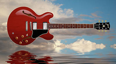 Digital Art - Es 335 Guitar by WB Johnston