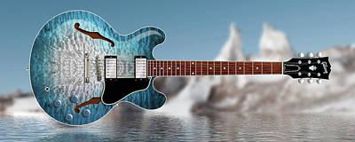 Digital Art - Es-335 Ice by WB Johnston
