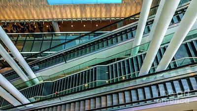 Escalators And Columns In Munich Airport Art Print