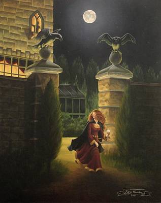 Crows Painting - Escape From Raven Manor by Karen Coombes