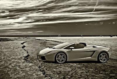 Lamborghini Photograph - Escape Into Blue Monochrome by Steve Harrington