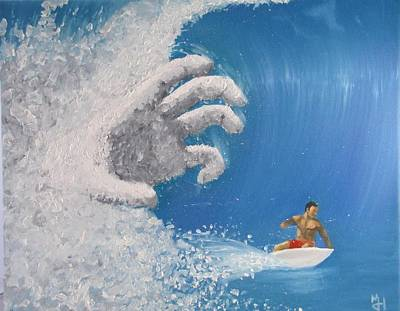 Surfboard Painting - Escape by Michael Holmes