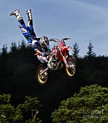 Escaping Motorbike Print by Angel  Tarantella