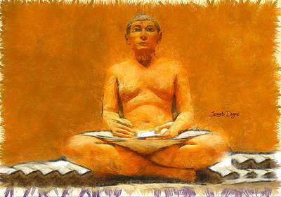 Parchment Painting - Escriba by Leonardo Digenio