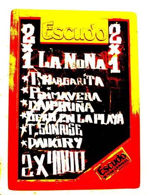 Valparaiso Photograph - Escudo Bar Menu In Santiago  by Funkpix Photo Hunter