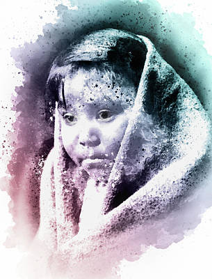 Mixed Media - Eskimo Child Portrait by Georgiana Romanovna