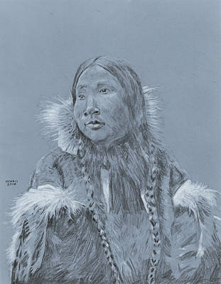 Inuit Drawing - Eskimo Girl by Dennis Larson