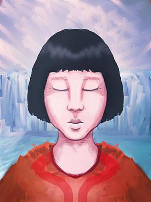 Inuit Drawing - Eskimo Girl On A Glacier by Rui Barros