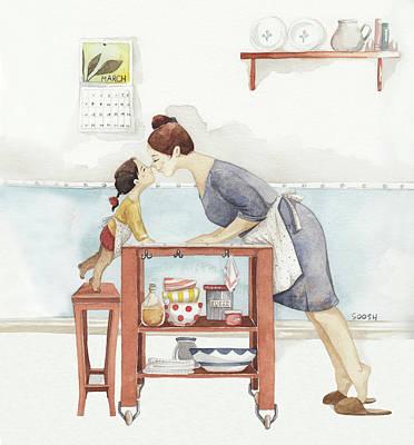 Girlfriends Wall Art - Drawing - Eskimo Kiss by Soosh